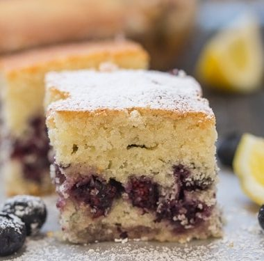 a cut square of easy blueberry bars