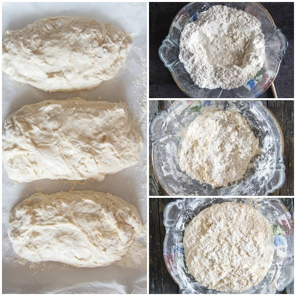 no knead bread how to mixed, rested and ready to bake