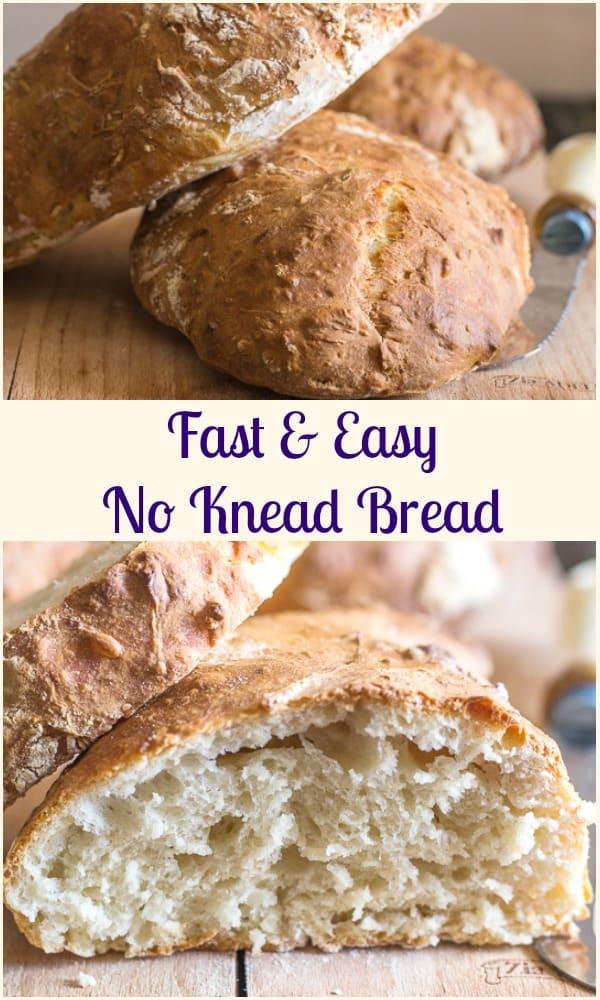 A No Knead Bread that is fast, easy and delicious. No 18 hour rising time, just 2 hours and baked to perfection. Fresh Homemade Bread just in time for dinner. #bread #homemade #no-knead #breadrecipe