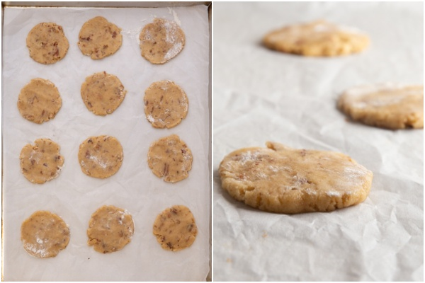 Cookies ready for baking on a cookie sheet.