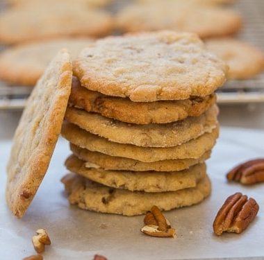 crunchy pecan cookies stacked