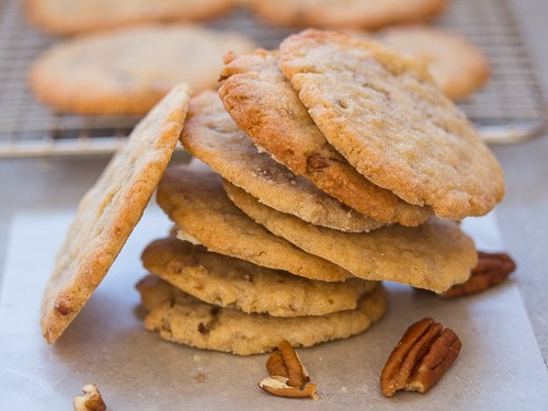 crunchy pecan cookies stacked