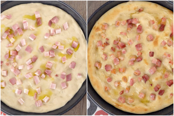 Pizza before and after baked with oil and pancetta.