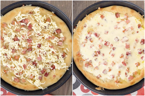 white pizza with cheese before and after melted.