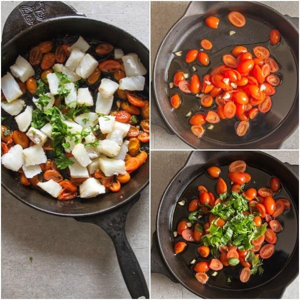 italian baccala how to make, chopped tomatoes, chopped tomatoes with cut up baccala in pan