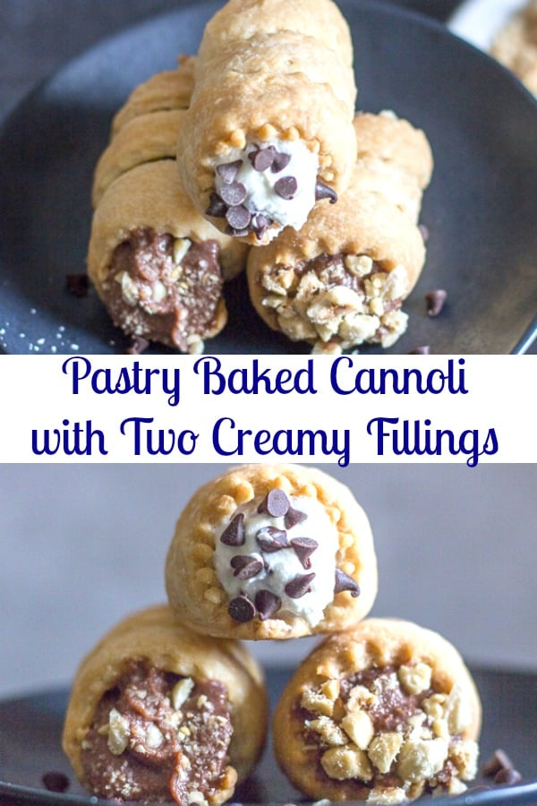 Pastry Baked Cannoli, are an easy homemade flaky pie dough filled with a Nutella filling or a traditional Ricotta filling.  Both creamy and delicious.  Take your pick or do both. #cannoli #Italiancuisine #bakeddessert #dessert
