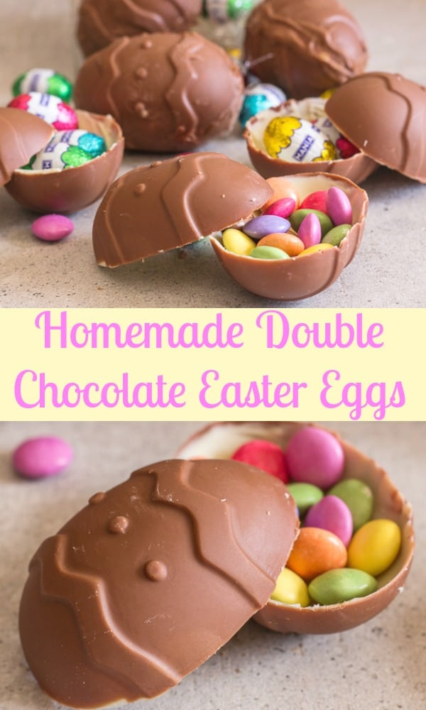 Double Chocolate Easter Eggs, these homemade surprise inside Easter Eggs are made with milk chocolate and white chocolate. The Perfect Easter treat!#Easter #chocolate #chocolateeggs
