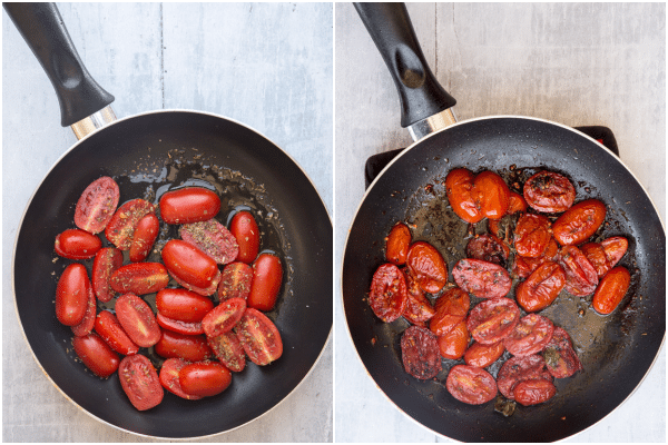 how to make eggplant parmesan stacks frying the tomatoes raw and cooked in a black pan
