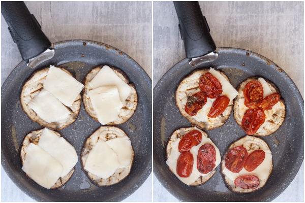 how to make eggplant parmesan stacks topped with cheese and tomatoes