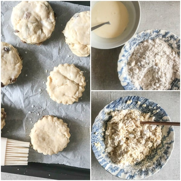 hot cross scones how to make, mixing the dough, and ready to be baked