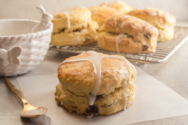 hot cross scones one on a paper