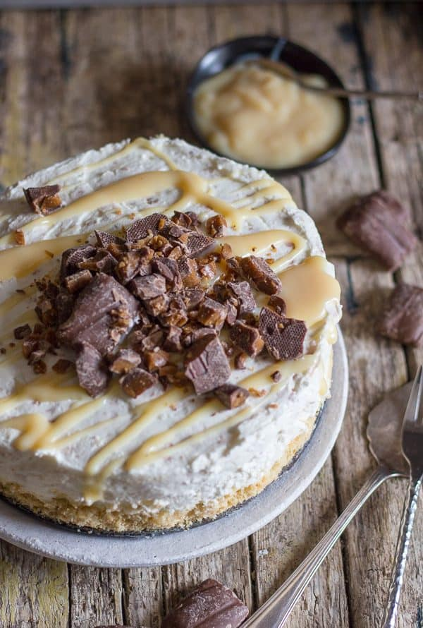 top view caramel no bake cheesecake with broken skor bars
