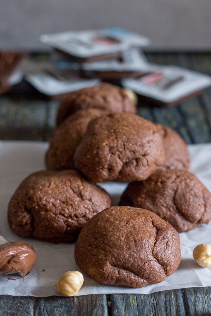 Nutella cookies stacked.