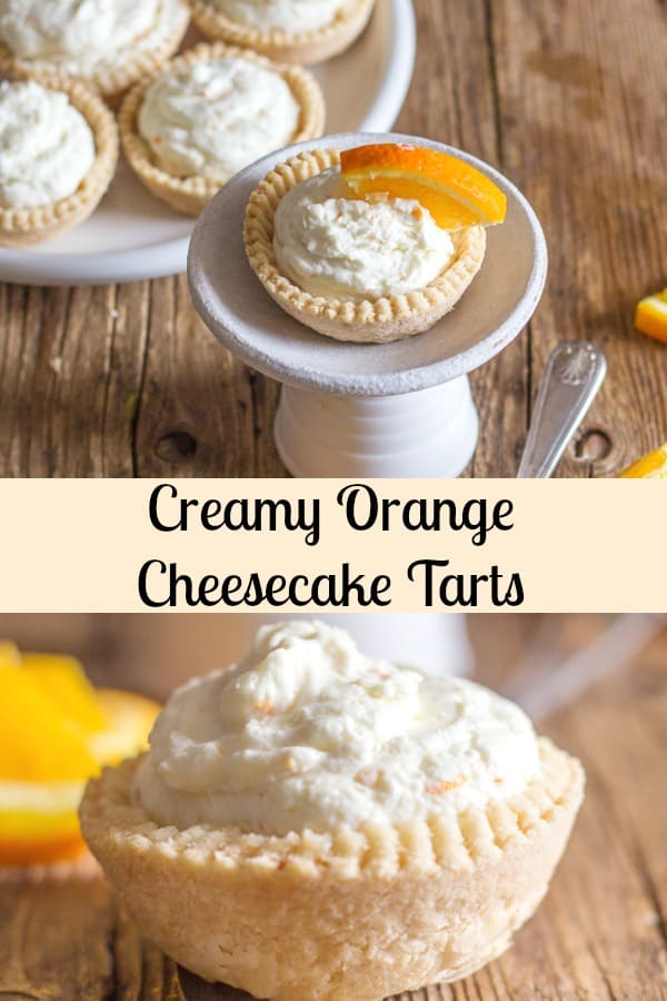 Creamy Orange Cheesecake Tarts a flaky pie crust filled with a creamy no bake orange filling.  These mini tarts will be gone in minutes.  The perfect dessert or snack.  So delicious! #cheesecake #orange #tarts #pie #dessert