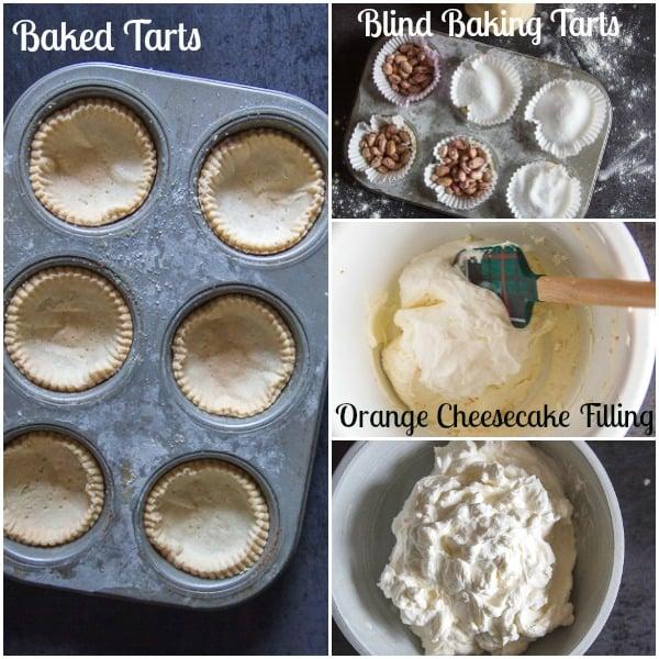 orange cheesecake tarts how to make, blind baking tarts, baked tarts and filling
