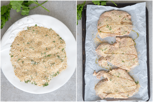 how to make pork chops breadcrumb mix in a plate and chops ready for baking
