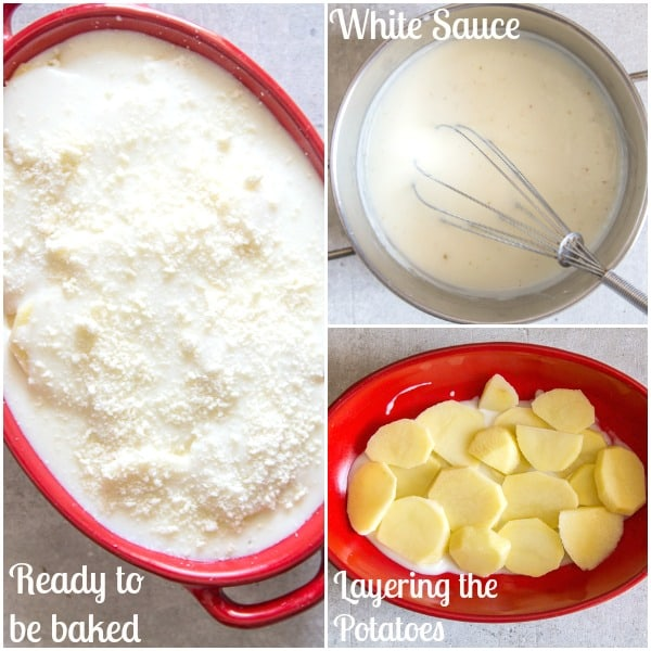 scalloped potatoes how to make, white sauce in a pot, one layer of potatoes, ready for the oven