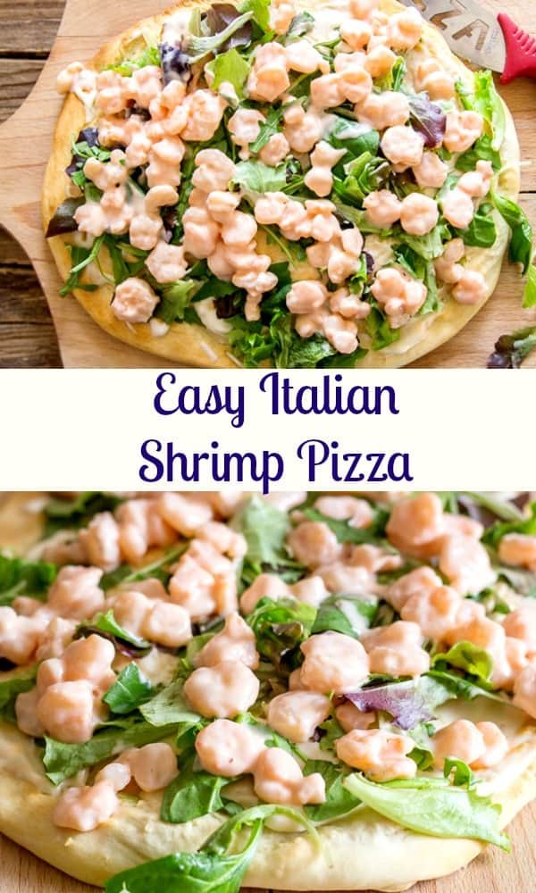 Shrimp Pizza, made the Italian way. A simple baked crust topped with an easy red sauce, cooked shrimp and salad. Pizza night never tasted so good. #shrimp #pizza #Italian #shrimppizza #dinner