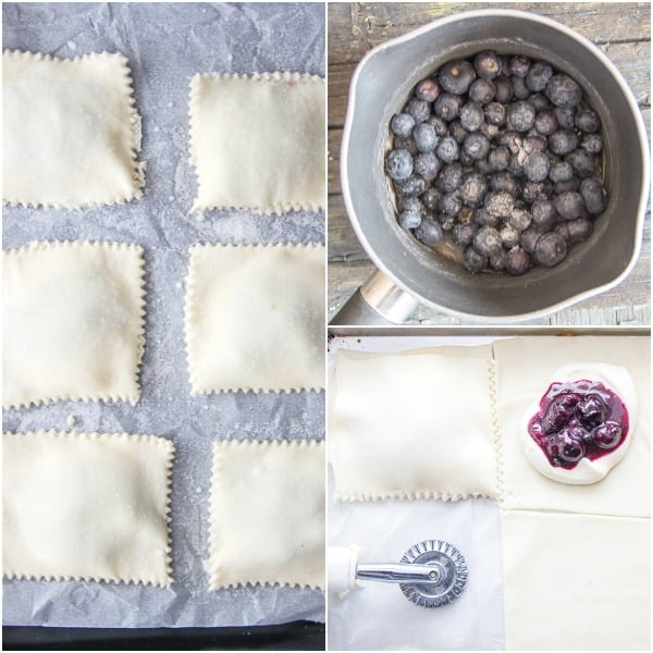 cream cheese danish how to make, blueberries & sugar in a pot, making the squares, and ready for the oven.