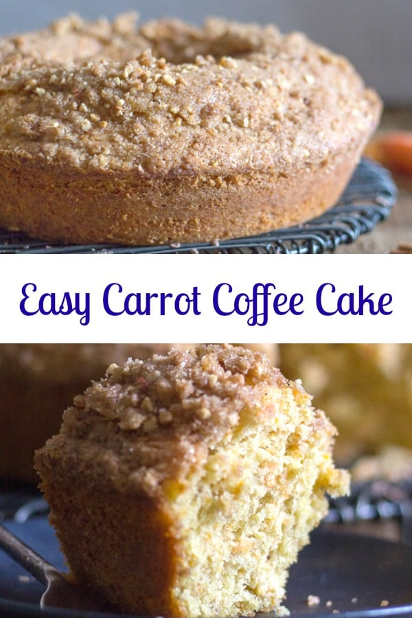 Easy Carrot Coffee Cake a delicious Homemade Moist Carrot Cake that is so delicious it doesn't even need a frosting.  The perfect Breakfast, Snack or Dessert Cake. #coffeecake #cake #bundtcake #dessert #snack #breakfast #carrotcake