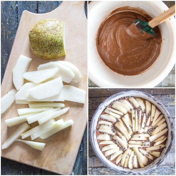 chocolate pear cake how to make, sliced pears, cake batter and cake ready for the oven