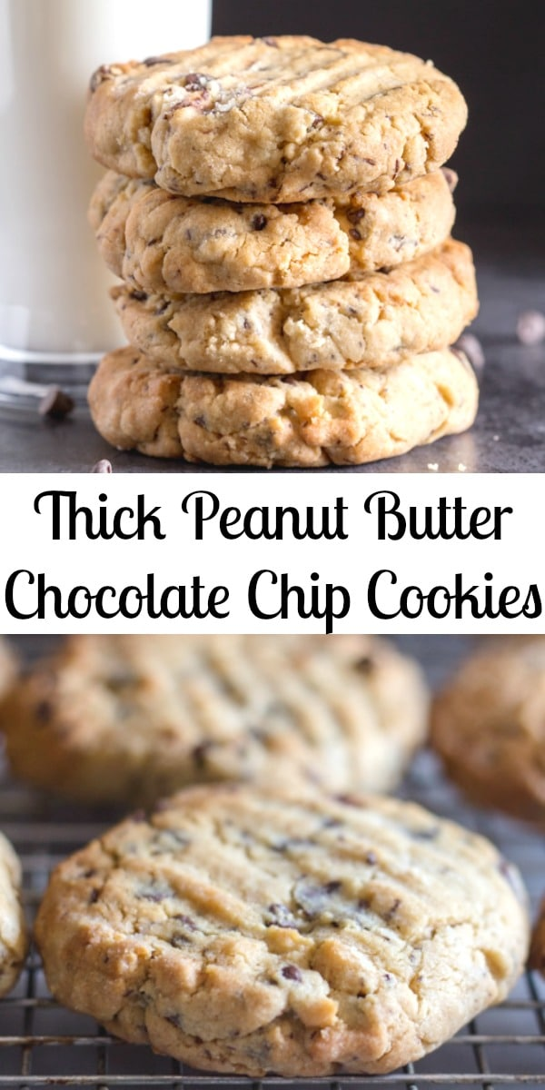 Thick Peanut Butter Chocolate Chip Cookies, the best Peanut Butter Cookies you will make or eat.  Made with loads of chocolate chips and deliciously thick.  Everyone will love them, not just the kids! #cookies #peanutbuttercookies ##thickcookies #snack #peanutbutterchocolatechipcookies