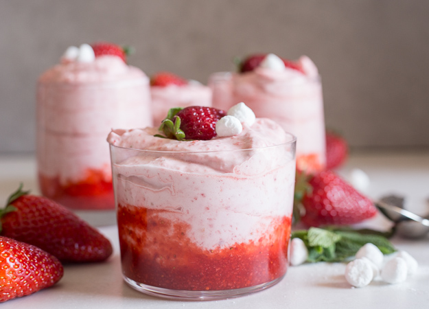 strawberry mousse in a glass