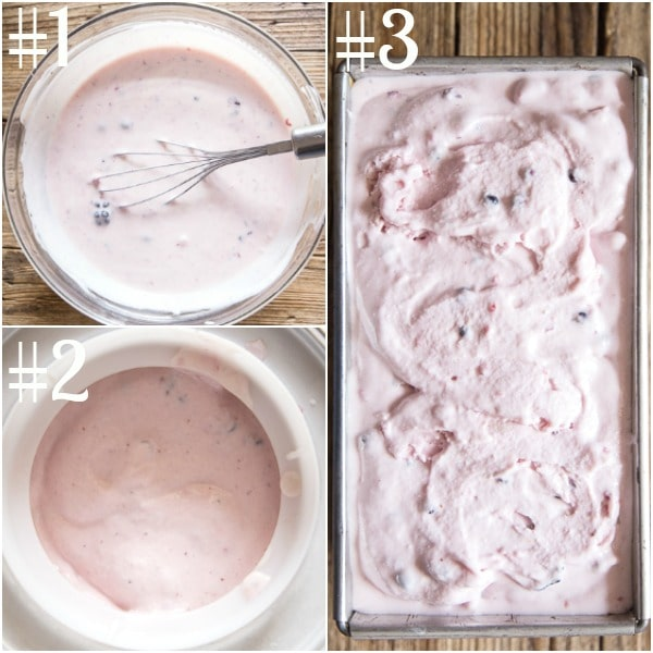 how to make frozen yogurt, whisked mixture, in the ice cream make, and in the pan for freezing