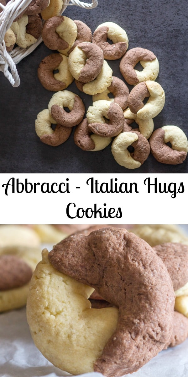 Abbracci Italian Hugs Cookies are made with a buttery crunchy vanilla and chocolate cookie, that wrap around each other in a hug.  Therefore Abbracci or Hugs.  Fun to make and even better to eat. #Italiancookies #cookies #hugscookies #abbracci #cookierecipe #snack #breakfast