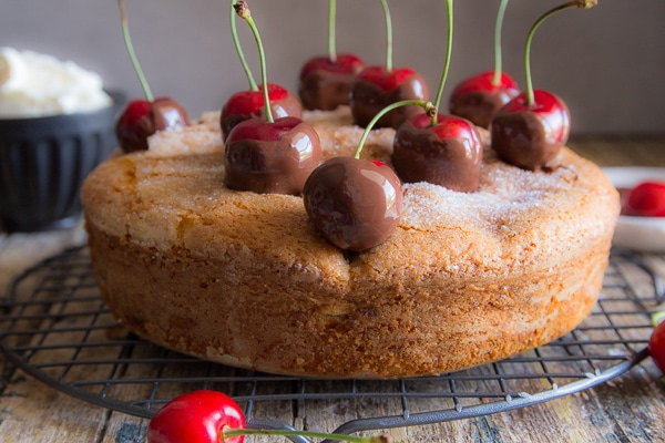 chocolate dipped cherries on a cherry cake