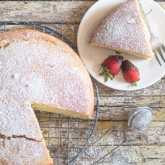 easy yogurt cake on a white plate