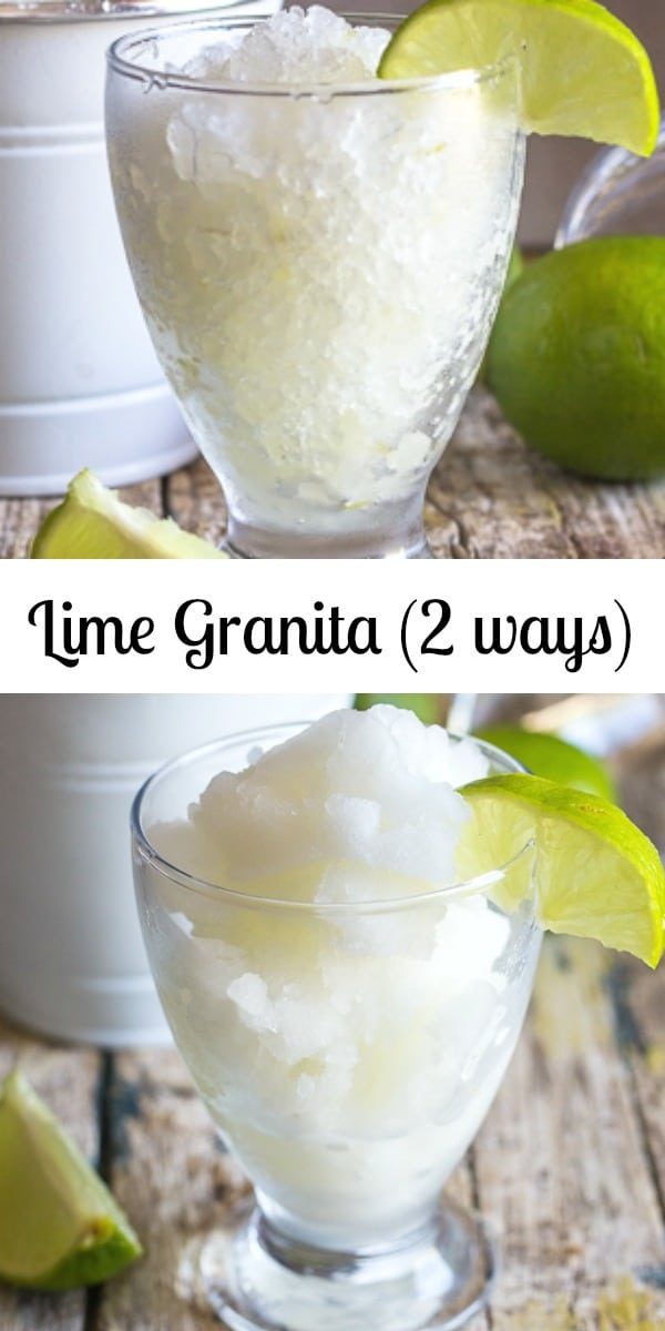 Only three ingredients and you have a delicious, fresh Lime Granita. Try it either freezer or ice cream maker methods. An easy Summer Treat. #granita #limegranita #summerdessertrecipe #noicecreammaker #icecreammaker #Italianrecipe