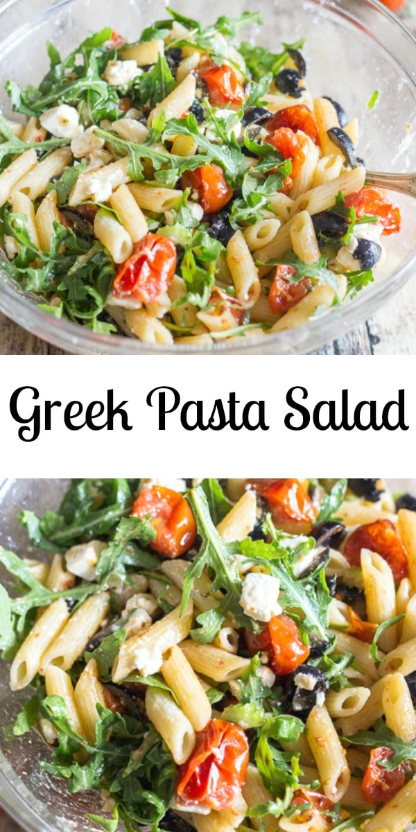 A delicious Summer Greek Pasta Salad full of feta cheese, olives and roasted tomatoes and tossed with a tasty olive oil dressing. #pasta #pastasalad #greeksalad #greekpastasalad #summerrecipe #maindish