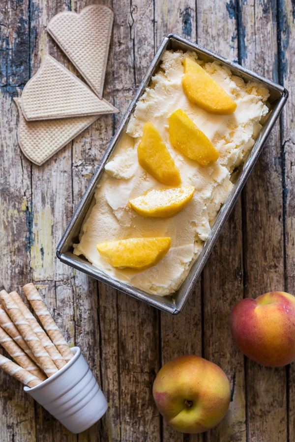 peach ice cream in a loaf pan