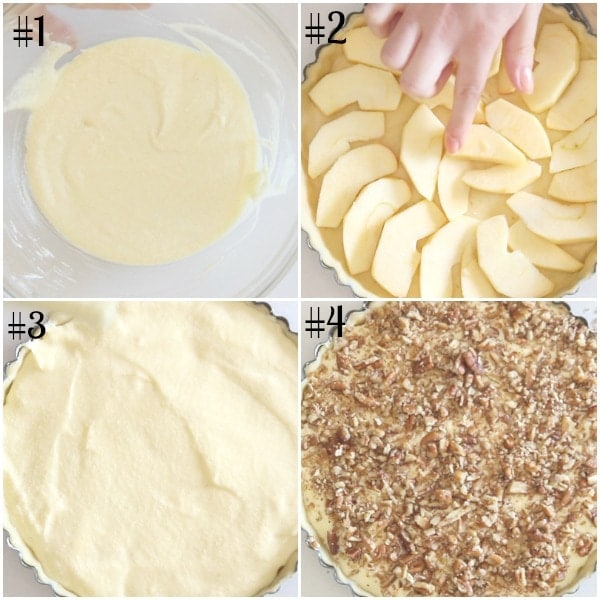 apple pie crostata how to make cream, apples in crostata, cream added, pecan topped