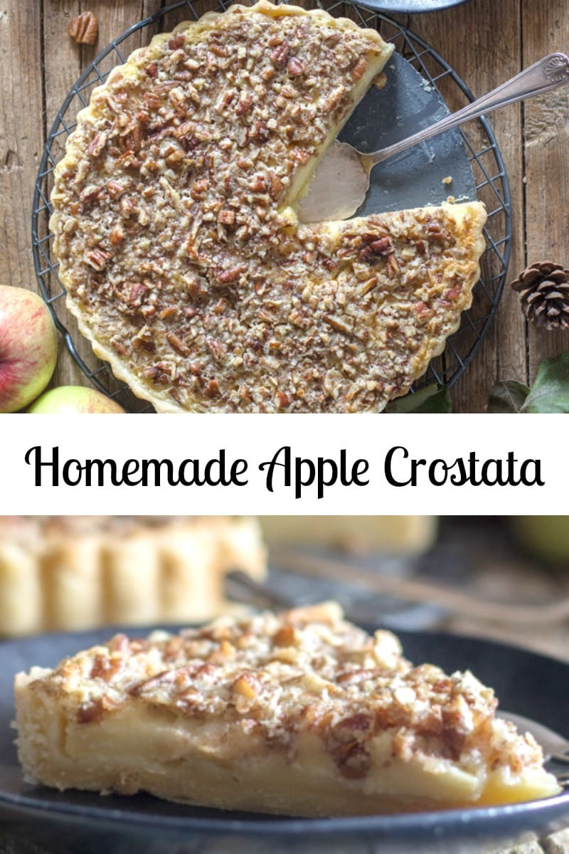 Welcome Fall with this Homemade Apple Crostata filled with Italian Pastry Cream and chopped Pecans. A delicious Dessert Recipe. #applepie #crostata #Italianrecipe #pastrycream #falldessert #applecrostata