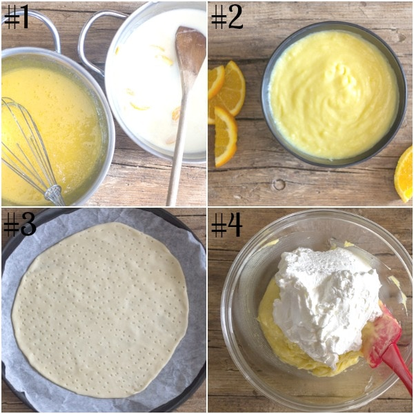 diplomat cake how to make, pastry cream, bake puff pastry, chantilly cream
