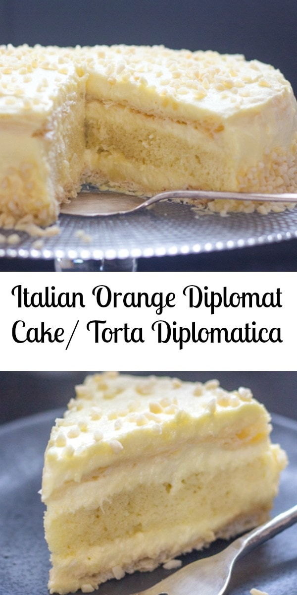 Now this is a cake! An Italian Orange Diplomat Cake or also known as Torta Diplomatica. Two layers of puff pastry, a layer of sponge cake filled with a creamy orange Italian Pastry Cream. #cake #layercake #Italiancake