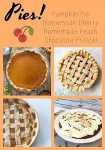 pies, pumpkin, cherry, peach and chocolate