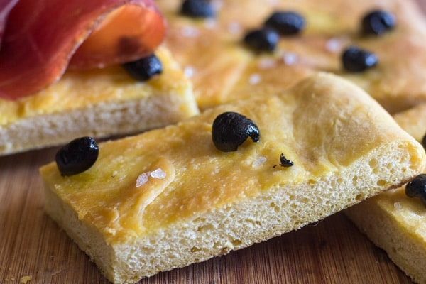 up close focaccia bread