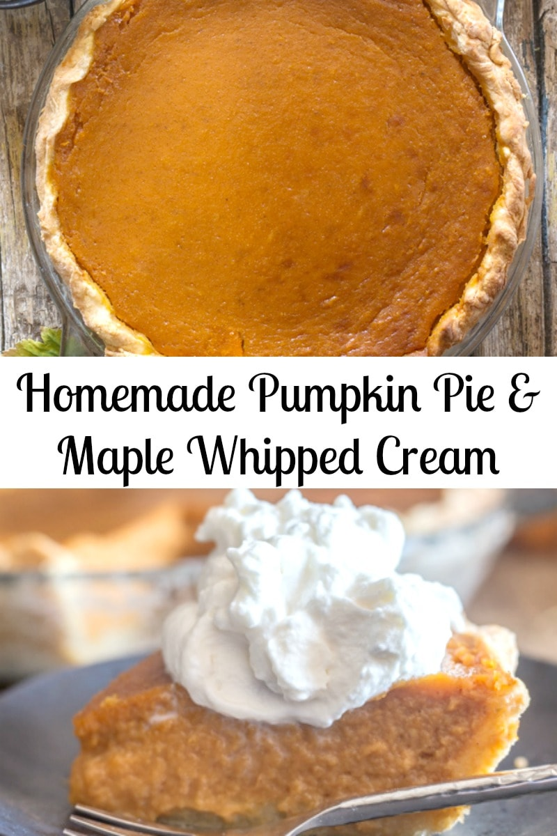 The perfect Fall Dessert, Homemade Pumpkin Pie. A brown sugar pie crust, tasty spiced Pumpkin filling and a maple whipped cream topping makes this the ultimate dessert. #pumpkinpie #pie #falldessert #homemadepie #piecrust #pumpkinrecipe