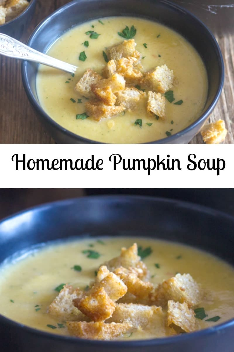 Homemade Pumpkin Soup never tasted so good. A lighter Pumpkin flavour, thanks to a few added ingredients. Creamy and delicious. Don't forget to add some Parmesan Croutons. #pumpkinsoup #soup #fallrecipe #squash #fallsoup