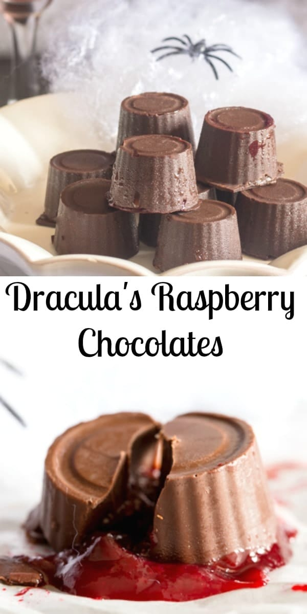 The perfect little treat for Halloween. Dracula's Raspberry Chocolates filled with a natural red, raspberry or strawberry filling.#halloween #chocolates #fruit
