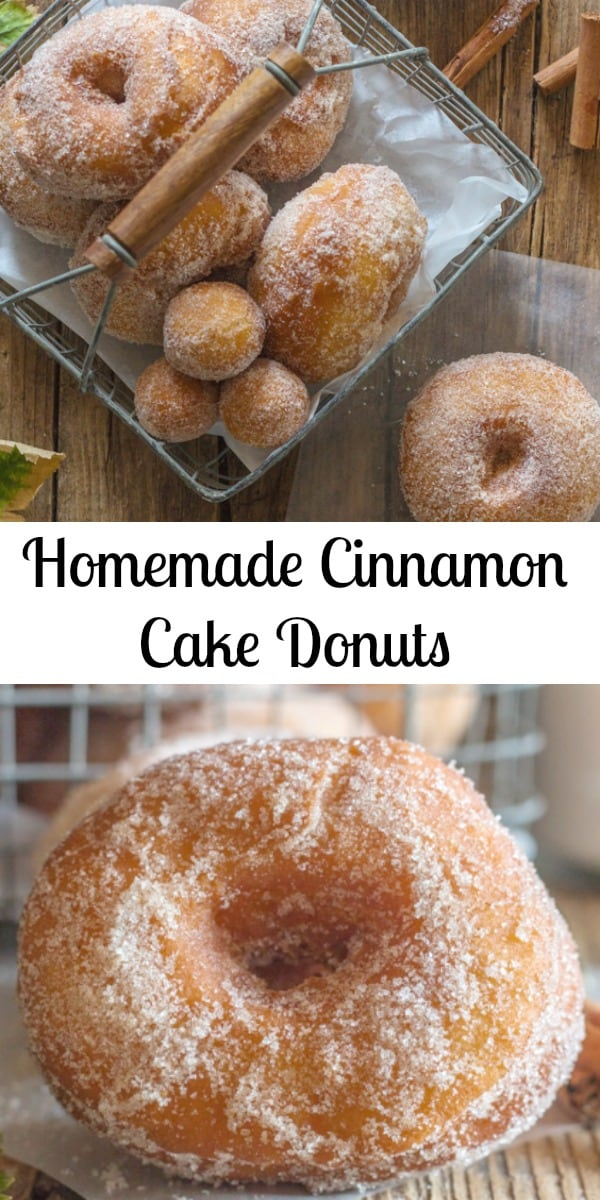 These Homemade Cinnamon Cake Donuts are my new favourite! A soft dough with a touch of cinnamon, and then rolled while still warm in a cinnamon sugar combination. The perfect anytime Donut. #donuts #cinnamondonut #cakedonut