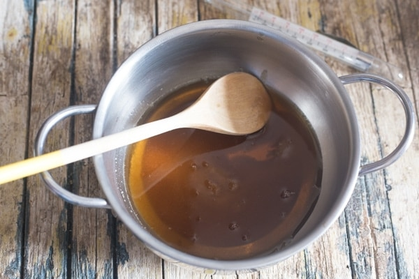 caramel sauce, boiled and melted