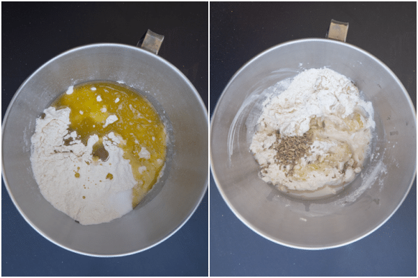 mixing the dough in a silver mixing bowl.