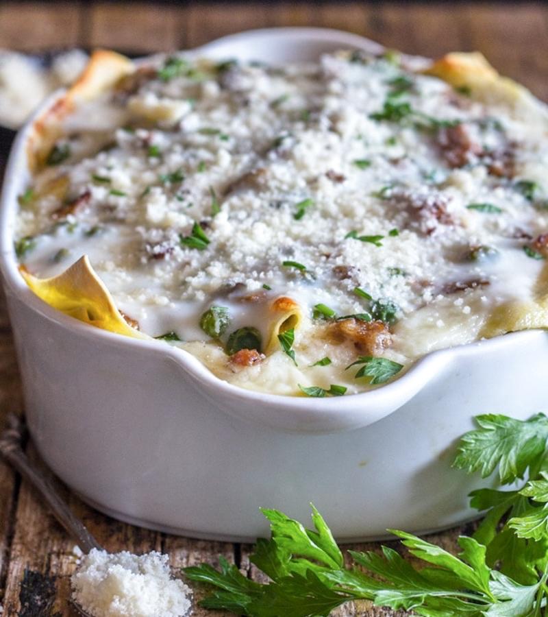 lasagna in a white pan