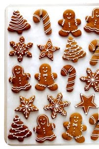 gingerbread cookies on a white pan