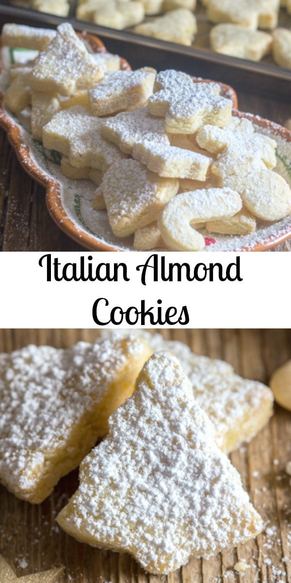 These Italian Almond Cookies are a soft cut out cookie,fast and easy to make. Made with only 6 ingredients they make a nice addition to your Holiday Cookie tray. #cookies #Christmascookies #almondcookies #Italiancookies #Italianrecipe