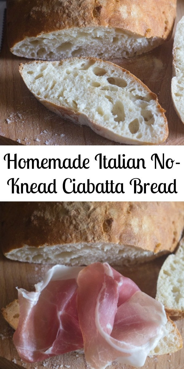 This is an Easy no Knead, One bowl Italian Ciabatta Bread.  Two hours and you can have Homemade Bread for lunch or dinner. Makes the perfect Sandwich too! #ciabatta #bread #Italianbread #nokneadbread #easybread